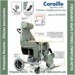 El sillón con ruedas para usar en casa y en exteriores.