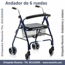 Andador de aluminio con asiento y cesta