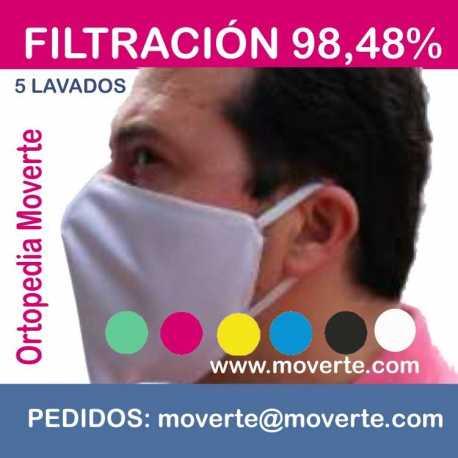 Mascarilla higiénica 5 lavados filtación 98,48%