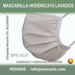 Mascarilla Higiénica 10 lavados color crudo. BFE 95,57%