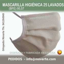 Mascarilla Higiénica 25 lavados espiga BFE 99,23