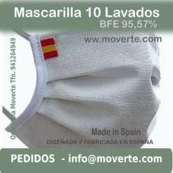 Mascarilla con Bandera de España10 lavados BFE 95,57%