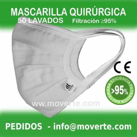 Mascarilla quirurgica 50 lavados filtración 95%