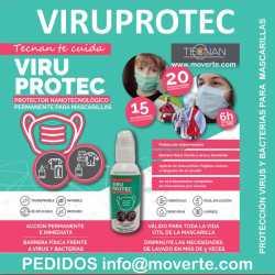 Viuprotec Protección Virus y Bacterias en Mascarillas y Tejidos.