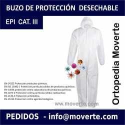 BUZO DE PROTECCIÓN IMPERMEABLE DESECHABLE EPI CAT III 5B/6B