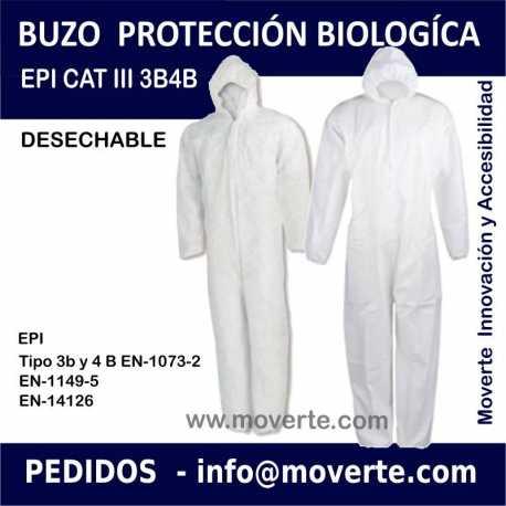 BUZO DE PROTECCIÓN IMPERMEABLE DESECHABLE EPI CAT III 3B/4B