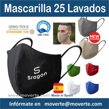 Mascarilla lavable 25 veces alta calidad UNE 0065.