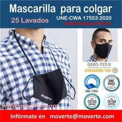 Mascarilla 25 lavados UNE-CWA 17553:2020 alta filtración