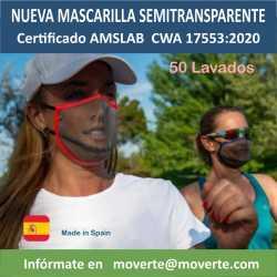 MASCARILLAS SEMITRANSPARENTES SPORTIVE 50 LAVADOS