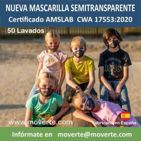 MASCARILLAS SEMITRANSPARENTES PARA NIÑOS SPORTIVE 50 LAVADOS
