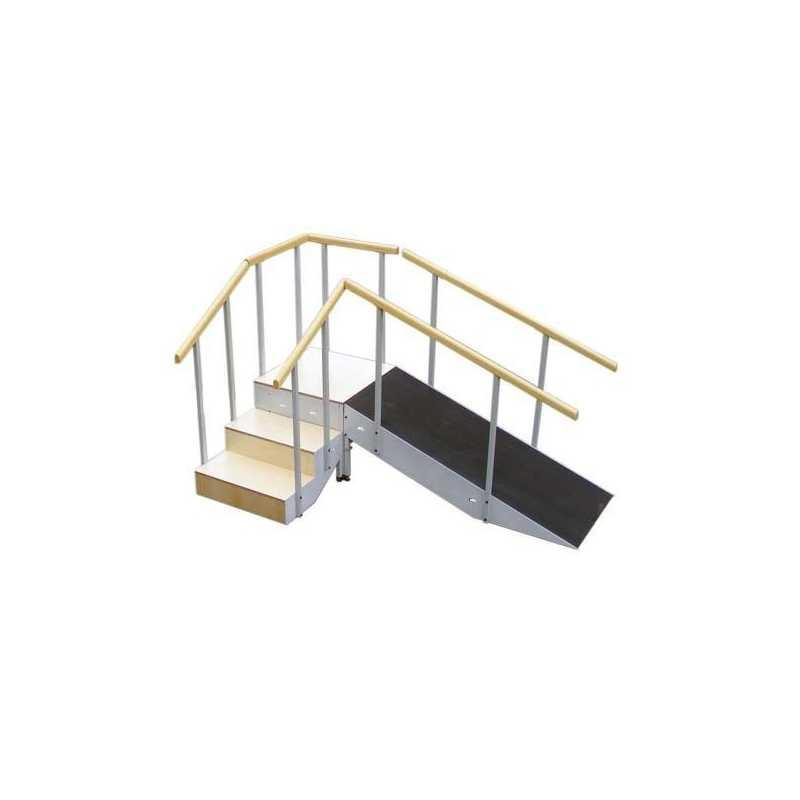 Escalera con rampa met lica tres escalones con pasamanos - Escalera tres peldanos ...
