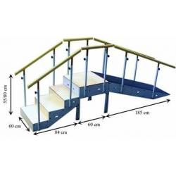 Escalera con rampa metálica cuatro escalones con pasamanos regulable en altura