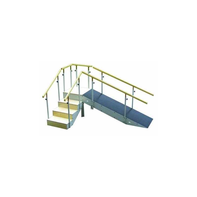 Escalera con rampa met lica cuatro escalones con pasamanos for Altura pasamanos escalera