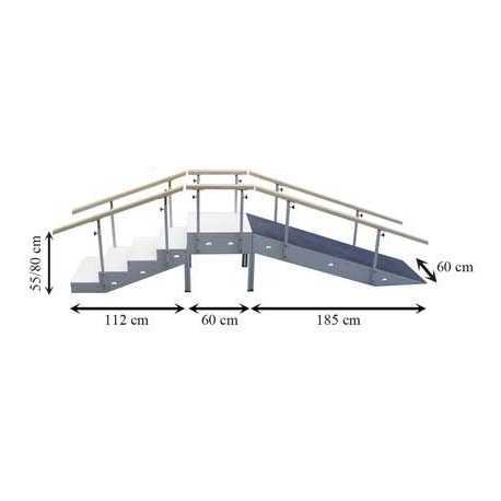Escalera con rampa metálica cinco escalones con pasamanos regulable en altura