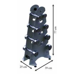 Juego de mancuernas 1 a 4 kg con soporte metálico