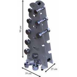 Juego de mancuernas de 1 a 5 kg con soporte metálico