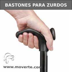 Bastón Zurdos plegable y ajustable de empuñadura confort. Negro