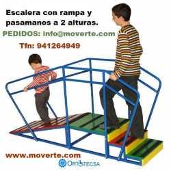 Escalera infantil 3 peldaños con rampa