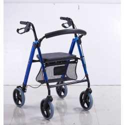Rollator con frenos regulable en altura Azul