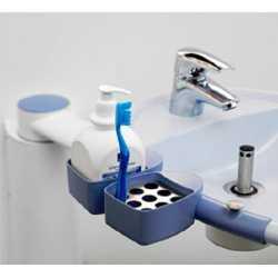 Soporte útiles de aseo con fijación en el lavabo